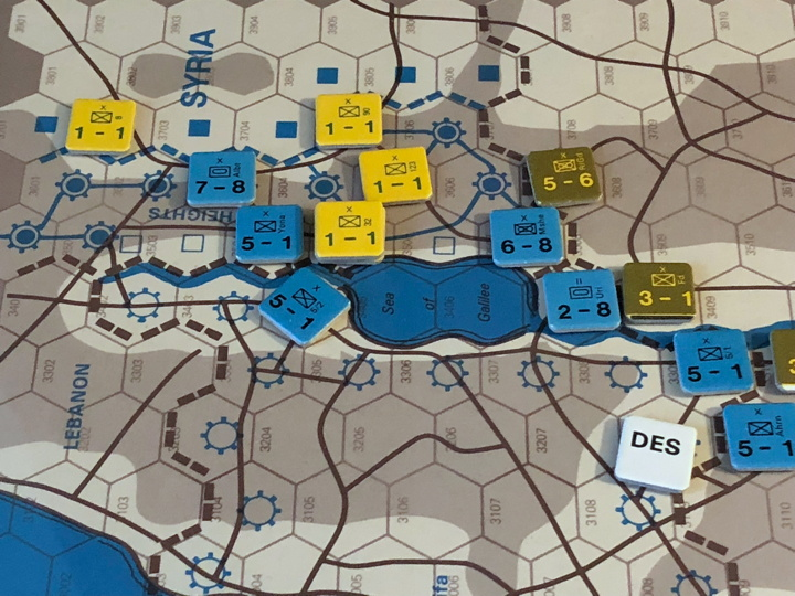 Sinai 1967 Scenario Turn 3 after Israeli Combat Phase, Syrian Front