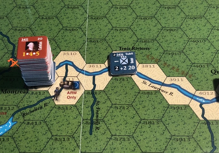 End of Empire, Turn 9, Bedel's Regiment in Trois-Rivières