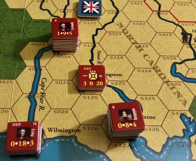 End of Empire, Turn 11, British disposition around New Berne, North Carolina