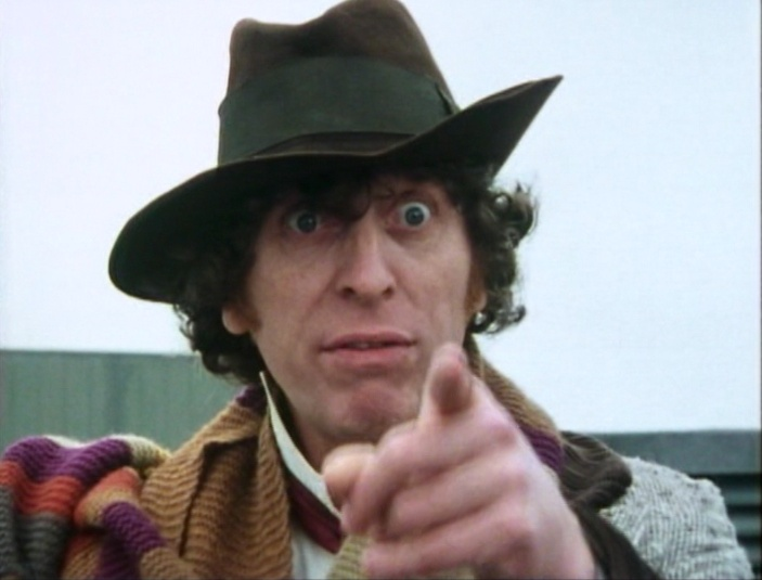 Tom Baker, making a point as the Fourth Doctor