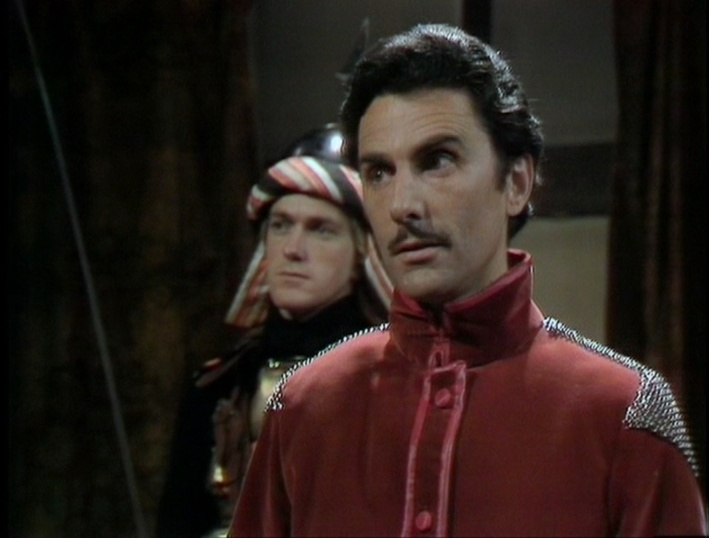 Neville Jason as Prince Reynart, with Paul Lavers as Farrah in the background