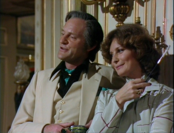 Julian Glover and Catherine Schell as the Scarlionis, in happier times