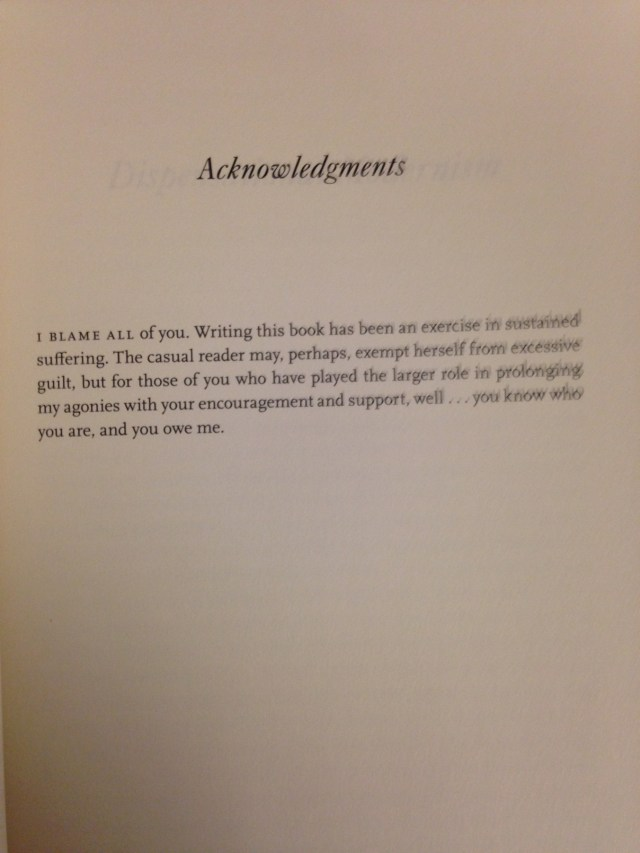 The best (or at least the most honest) acknowledgements section of