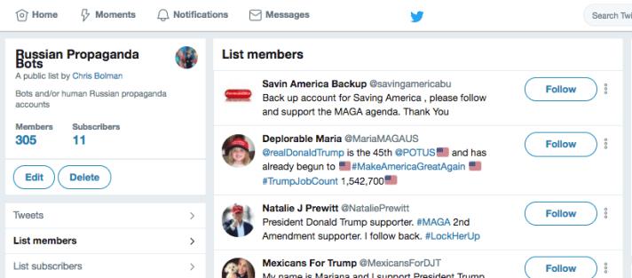 Twitter List of Russian Trolls and Bots