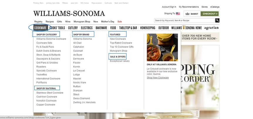 Williams Sonoma flyout menu