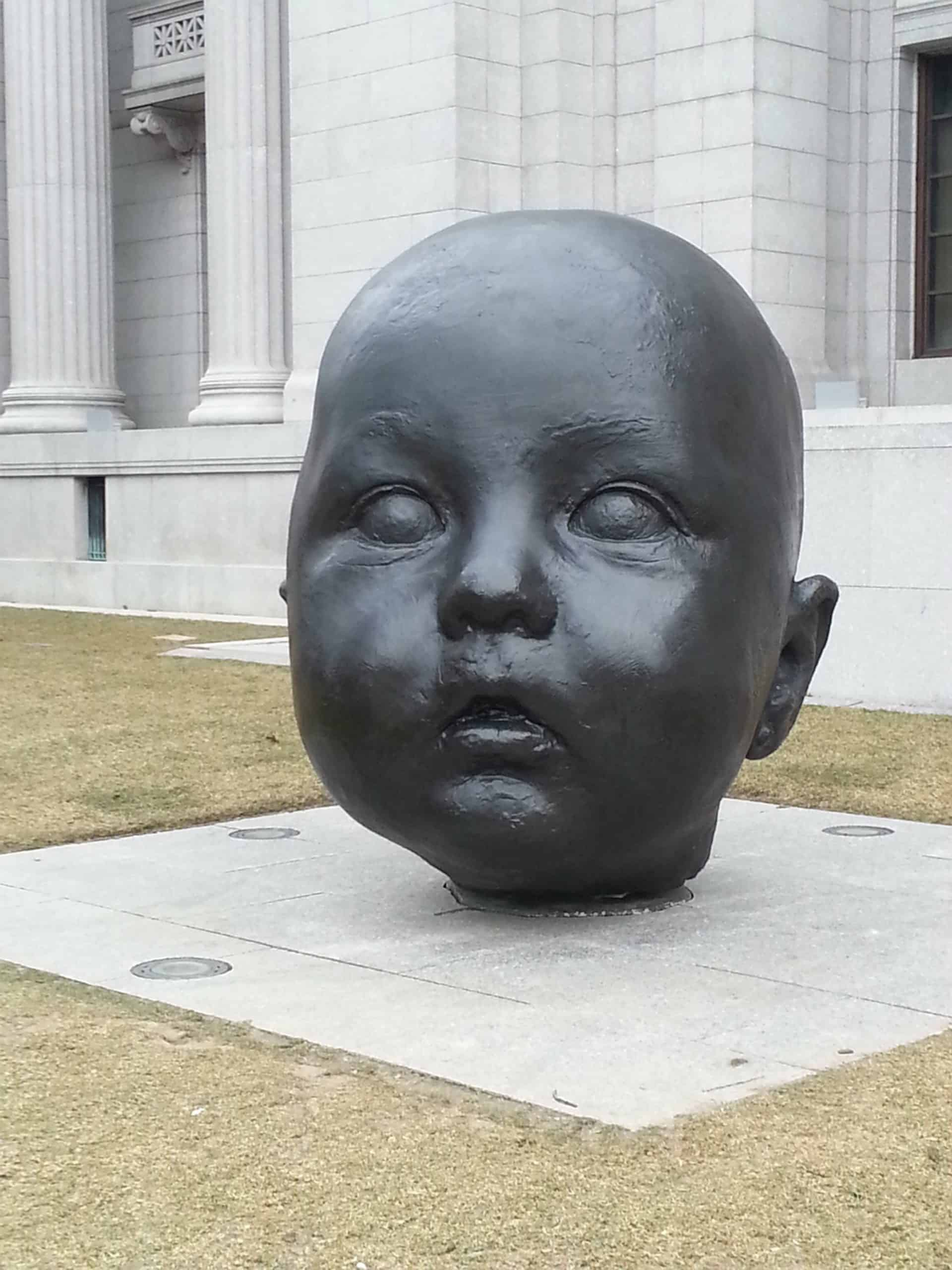 big baby head statue at Boston MFA