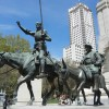 Don Quixote statue in Cervantes Plaza in Madrid