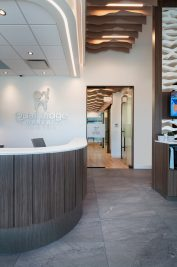 Right side of front counter and hallway of new dental clinic, Quail Ridge Dental in Kelowna.