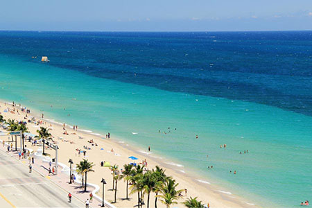 top view of fort lauderdale beach - ft. lauderdale, florida usa