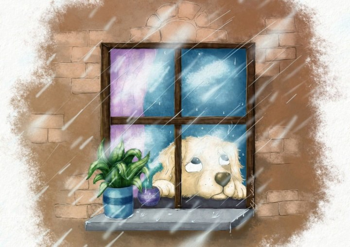 Gabby, from my first children's picture book, is stuck inside while it rains