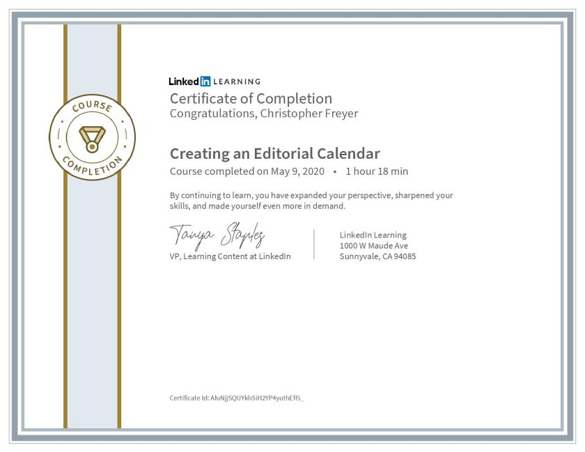 CertificateOfCompletion_Creating an Editorial Calendar-Chris-Freyer