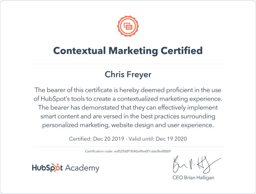 Contextual Marketing Certified-Chris-Freyer