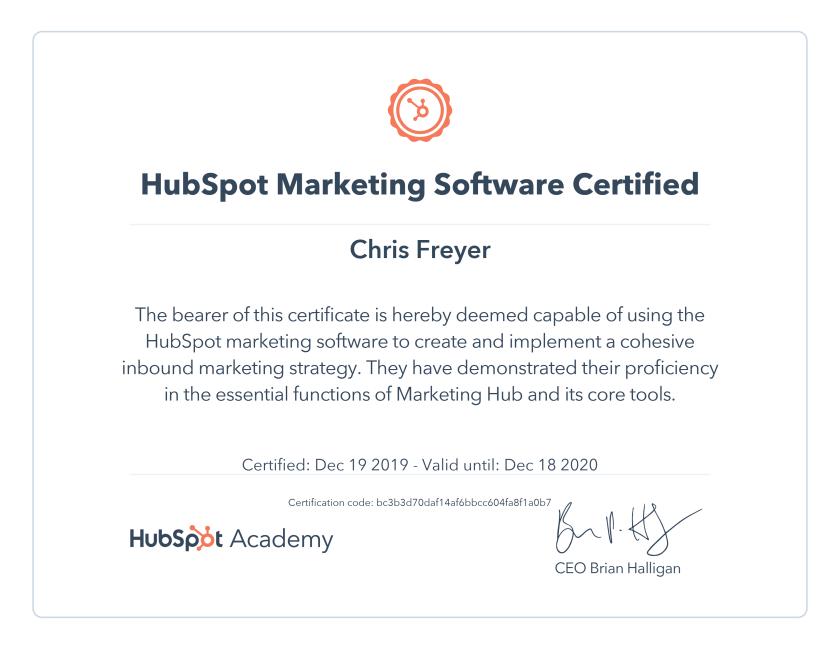 Hubspot Marketing Software Certified-Chris-Freyer