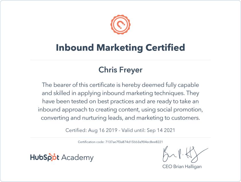 Inbound Marketing Certified-Chris-Freyer