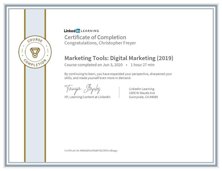 chris-freyer-CertificateOfCompletion_Marketing Tools Digital Marketing (2019)