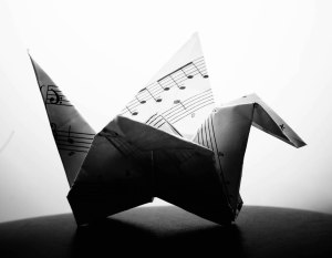 Origami crane, made from sheet music