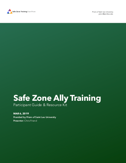 Safe Zone Ally training materials
