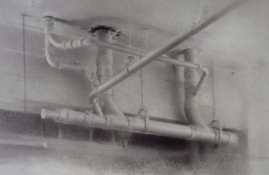 Christopher Gallego, American, b. 1959, Ceiling Pipes, 2011, charcoal & graphite on paper, 14 x 17 in.
