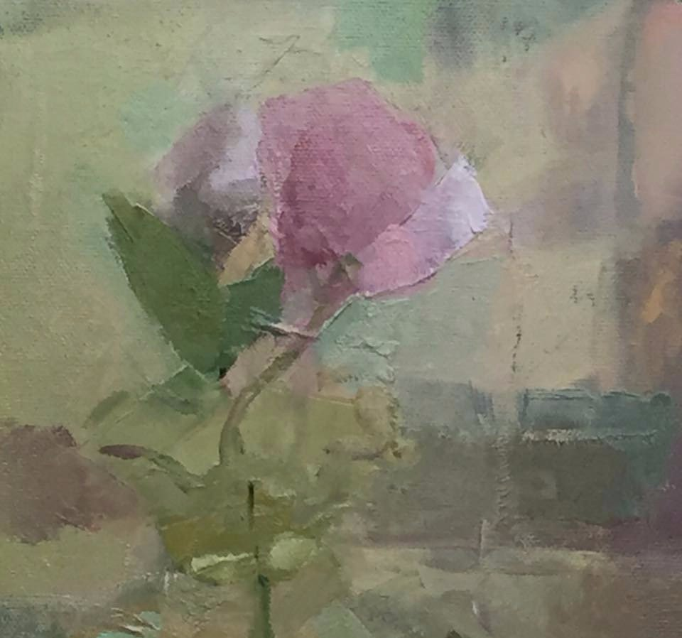 Tracy Everly, Leaf and Lisianthus, oil on panel, 6 1:4 x 7