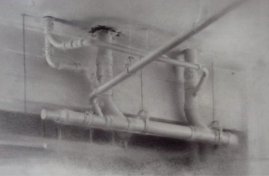 Ceiling Pipes, 2011 Charcoal & graphite on paper, 14 x 17 in. $3000 Framed