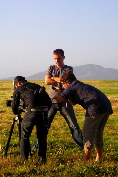 """Peter Hegedus with crew (DOP: Shing Fung Cheung and Production manager / Stills: Dorka Hegedus-Lum) in San Fransisco. """"My America"""", 2011"""