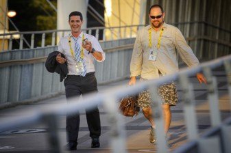 John Taylor and Scott Kyle rush to make an ABC News on air deadline during Brisbane G8 Summit, 2014
