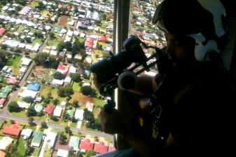 "Brad Francis films aerial shots over Toowoomba, QLD. ""RACQ Careflight TVC"", 2012"