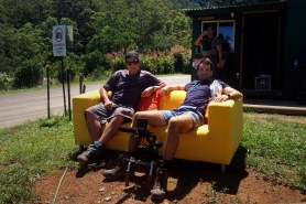 """Camera Kingsley Haxton and Producer Sam Rees-Jones relax on the yellow couch. """"I'm a Celebrity, Get Me Out of Here, Now!"""" 2013"""