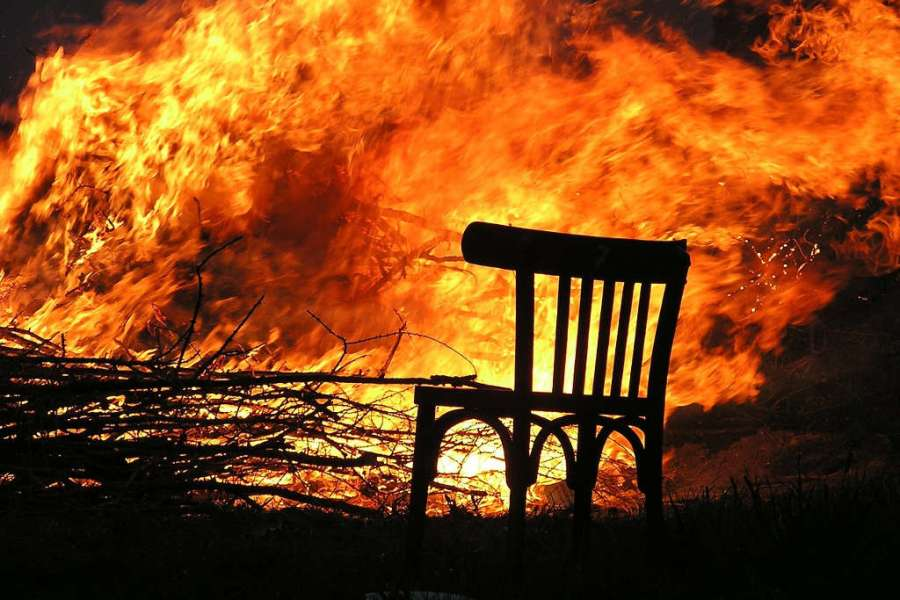 Chair by a fire