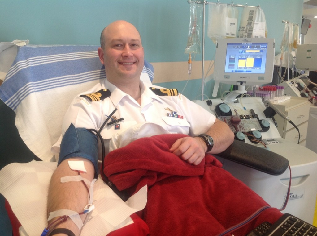 Chris Hache's 200th blood donation - 24 January 2014 (the platelets machine is in the background)