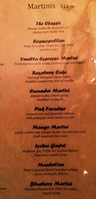Press Gang - Martini Menu