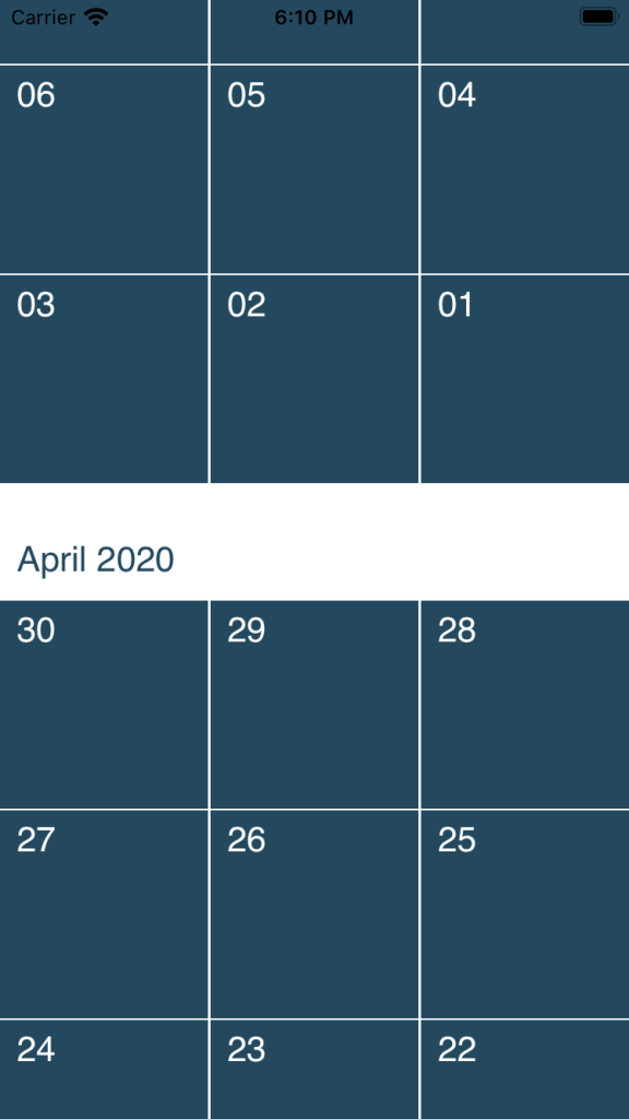 a calendar view layout