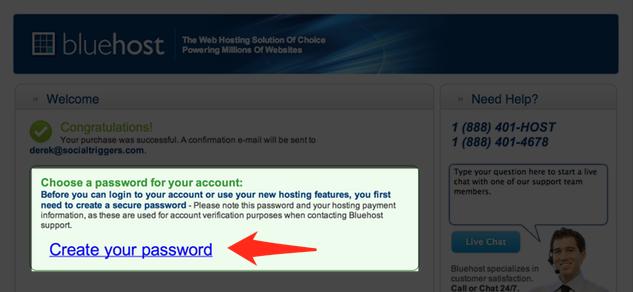Blue Host Password Creation