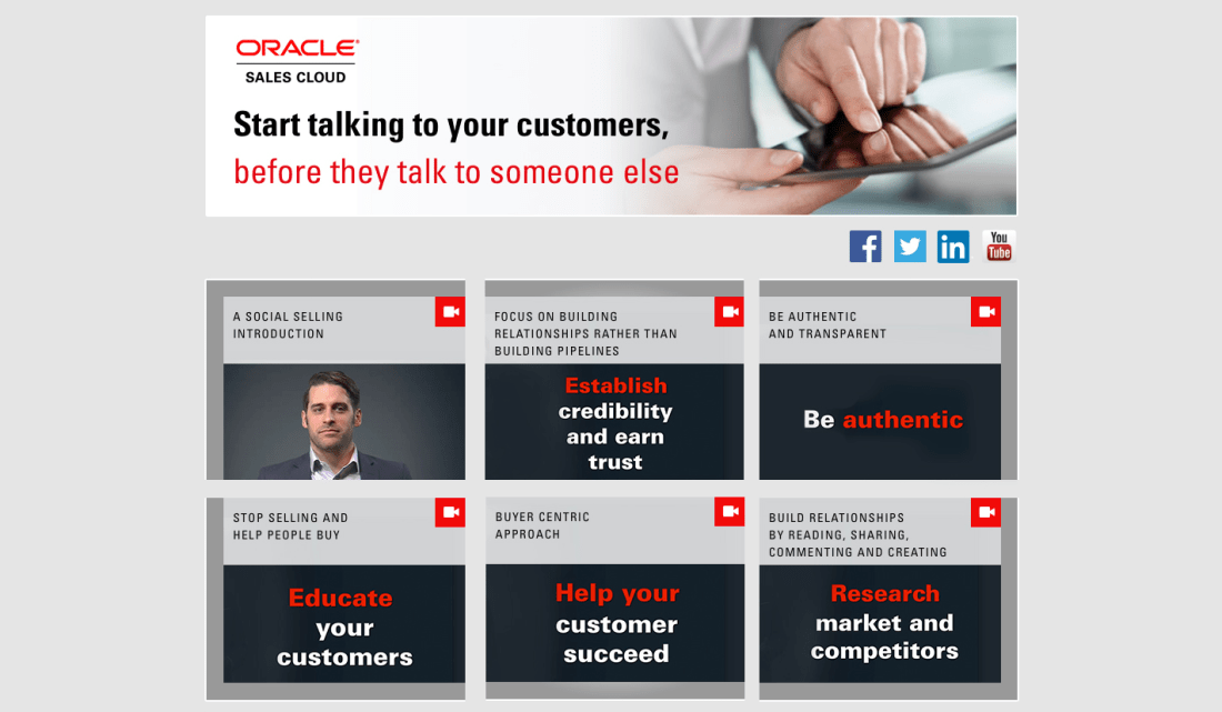 Oracle Social Selling video landing page screenshot