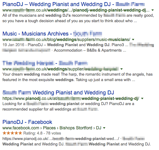venue name wedding pianist SERPs