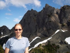 After hiking 5,000 feet in two days, looking out at Sawtooth Ridge in the Olympics.
