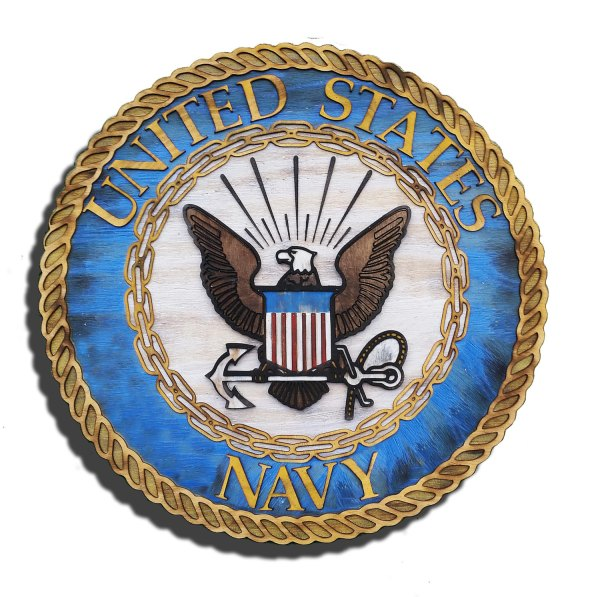 United States Navy official Seal 3D from reclaimed wood ...