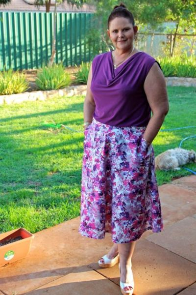 Hollyburn skirt with self drafted cowl neck top