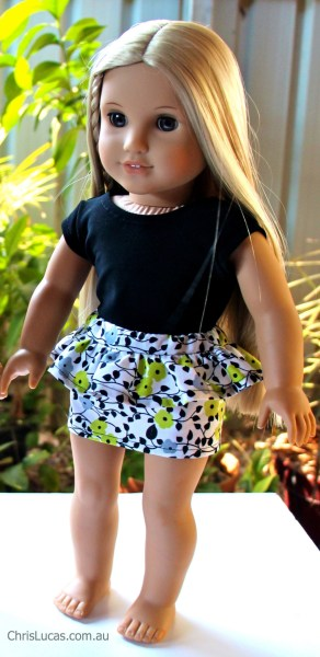 American Girl and Australian Girl doll Peplum Skirt and Top - Chris Lucas Designs