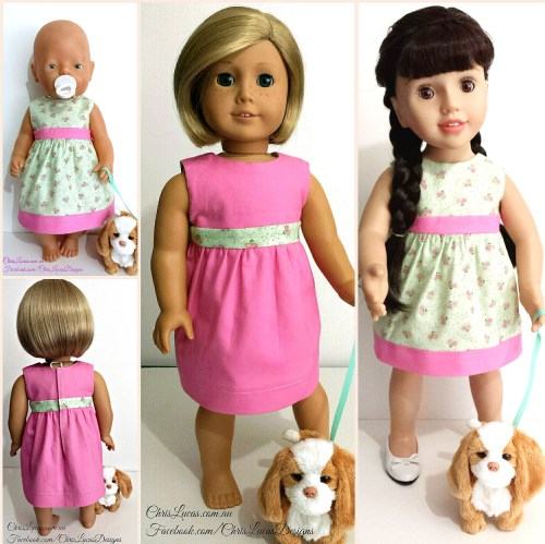 Reversible Dolls Dress - American Girl Dolls - Australian Girl Dolls - Baby Born Dolls - Chris Lucas Designs