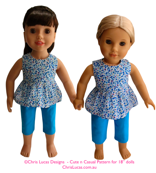 "Chris Lucas Designs - Cute n Casual - 18"" Size Sewing Pattern - Australian Girl Dolls and American Girl dolls"