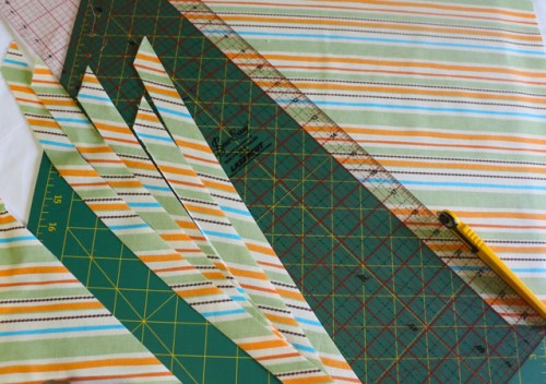 Continue Cutting Bias Strips at a 45 degree angle for the amount you need for your project