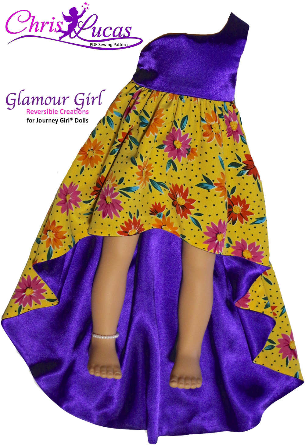 Glamour Girl - Full-Train-Front-View - Journey Girl Doll Sewing Pattern - Fully Reversible