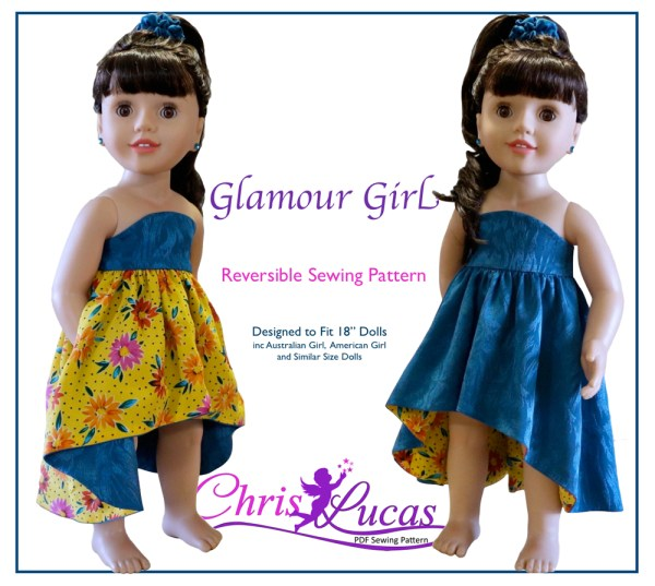Glamour Girl Reversible Sewing Pattern for Australian Girl dolls and American Girl Dolls