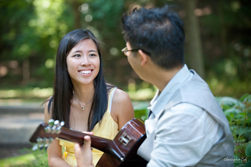 Christopher Luk 2012 - Engagement Session - Theresa and Ryan - Alexander Muir Memorial Gardens Park Toronto Wedding Lifestyle Photographer - Serenade Singing Guitar Playing