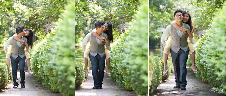 Christopher Luk 2012 - Engagement Session - Theresa and Ryan - Alexander Muir Memorial Gardens Park Toronto Wedding Lifestyle Photographer - Piggyback Happy Smile Kiss Laugh