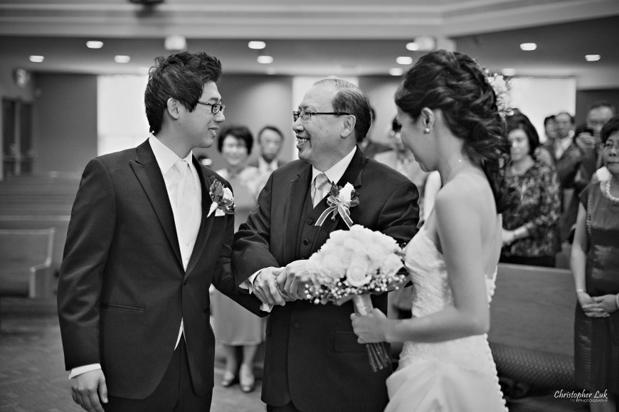 Christopher Luk 2012 - Theresa and Ryan's Wedding - Toronto Centre for Performing Arts Life-Spring Christian Fellowship Destiny Banquet Hall - Father of Bride and Groom Church Ceremony Holding Hands Smile Hand Off