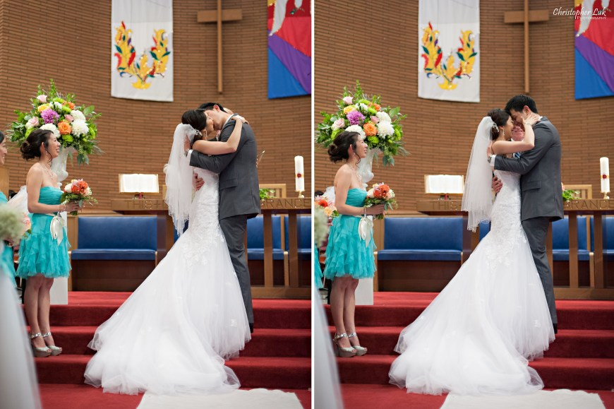 Christopher Luk 2014 - Heidi and Ming-Yun's Wedding - Courtyard Marriott Markham Thornhill Presbyterian Church Chinese Cuisine - Bride and Groom Ceremony Natural Candid Photojournalistic First Kiss