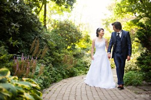 Christopher Luk 2014 - Mikiko and George's Casa Loma Wedding - Toronto Event Lifestyle Photographer - Bride and Groom Creative Relaxed Portrait Session Photojournalistic Natural Candid Exterior Castle Gardens Walkway Path