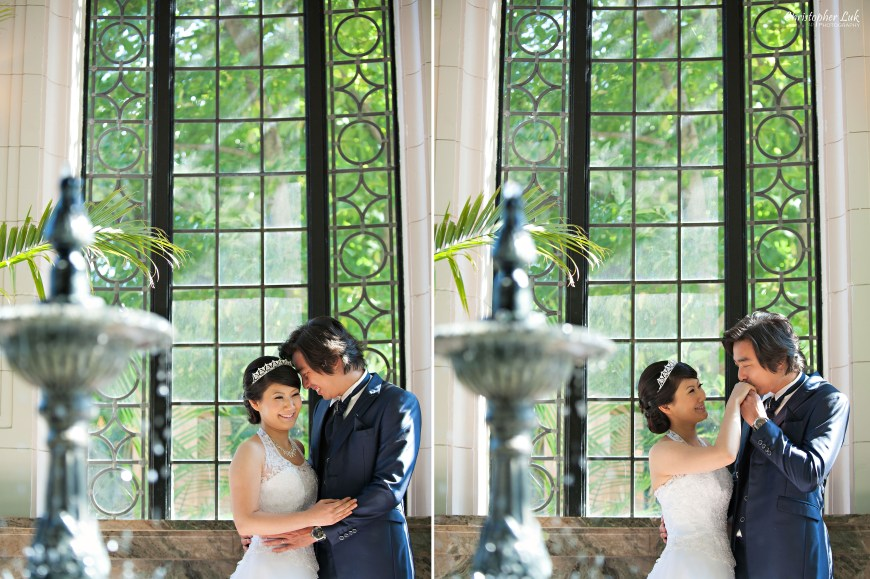 Christopher Luk 2014 - Mikiko and George's Casa Loma Wedding - Toronto Event Lifestyle Photographer - Bride and Groom Creative Relaxed Portrait Session Photojournalistic Natural Candid The Conservatory Hand Kiss Fountain